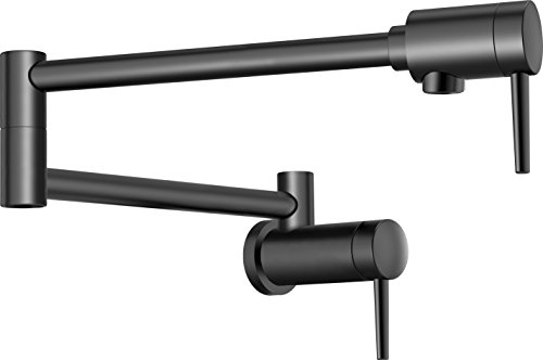 Delta Faucet 1165LF-BL Contemporary Wall Mount Pot Filler, Matte Black Pot Filler Valve