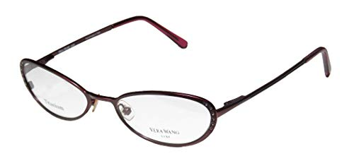 Vera Wang Epiphany I Womens/Ladies Designer Full-rim Titanium Crystals Flexible Hinges Hot Handmade In Italy Eyeglasses/Eye Glasses (49-17-130, Bordeaux)
