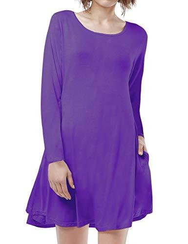 BELAROI Women's Casual Flowy Swing Loose Long Sleeve Dress with Pocket Plus Size Knee Length(M,Deep Purple)