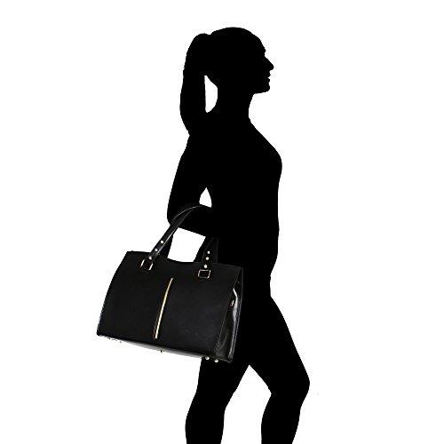 Sac Véritable Chicca Italie Cuir Borse Cm À Femme Main Noir En Fabriqué 38x27x12 0gTgnR