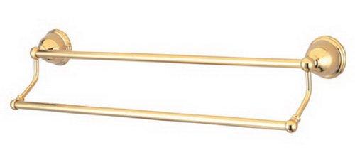 Kingston Brass BA3963PB Restoration 24-Inch Dual Towel Bar, Polished Brass
