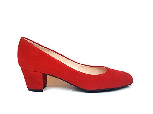 Gennia Kate - Scarpe Da Donna Con Tacco Largo In Pelle Scamosciata Tristan (rosso)