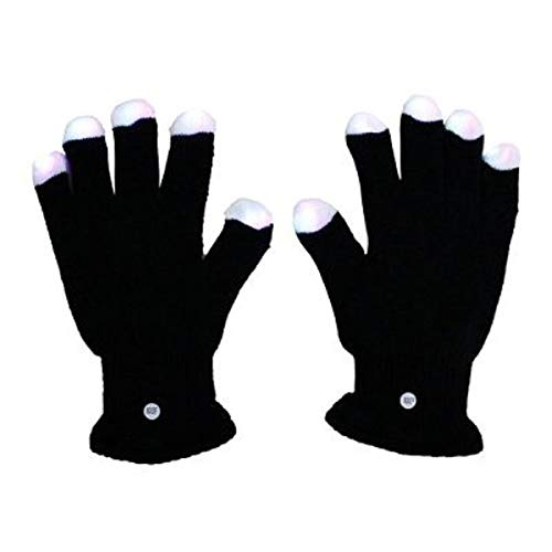 (Mammoth Sales 1 Pair of LED Flashing Light Up Party Rave Gloves - Various Styles (Black) )