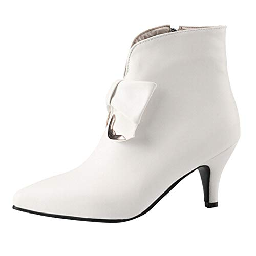 Ankle Hi Tramper Boot - HOSOME Women Thin Heels Ankle Boots Leather Zipper Shoes White