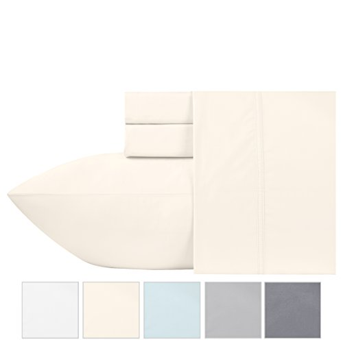 600 Thread Count 100% Pure Cotton Sheets - Ivory Long-staple Cotton Twin Sheets, Fits Mattress Upto 17'' Deep Pocket, Sateen Weave, Soft Cotton Bed Sheets and Pillowcases by California Design (17 Deep Pocket)