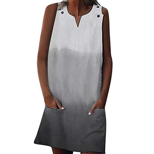 Sanyyanlsy Women's Gradient Color Metal Ring Pocket Straight V-Neck Sleeveless Plus Size Above Knee Dress Daily Casual - Neck Dress Ruched Metal Bust