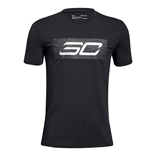 Under Armour Boys' SC30 Logo Short Sleeve T-Shirt, Black (001)/Steel, Youth X-Large