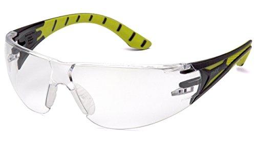 Pyramex Endeavor Plus Durable Safety Glasses, Black/Green Frame, Clear Lens