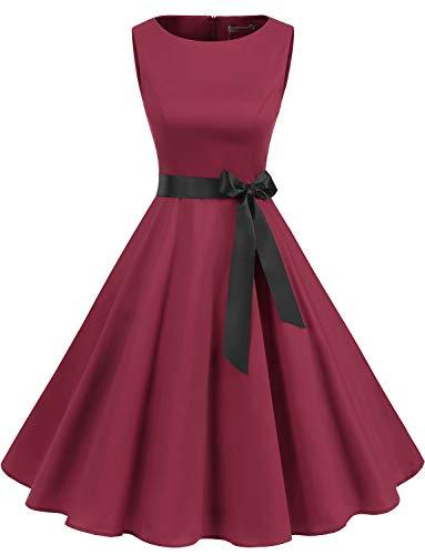 Gardenwed Women's Audrey Hepburn Rockabilly Vintage Dress 1950s Retro Cocktail Swing Party Dress Dark Red S