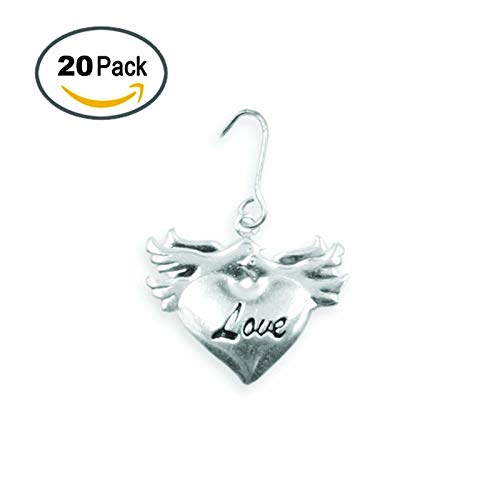 (Love Heart Doves Wedding Birds Favor Silver Charms Wedding Decor Decoration Party Favors Gift Tags Bags DIY Bride and Groom)
