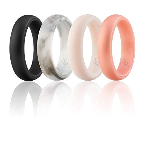 ROQ Silicone Wedding Ring for Women, Set of 4 Silicone Rubber Wedding Bands - Whit-Black Marble, White-Rose Gold Marble - Size 7