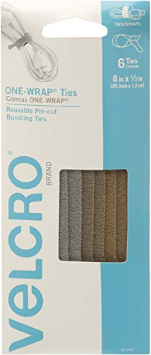 VELCRO Brand ONE-WRAP Ties | Cable Management, Wires & Cords | Self Gripping Cable Ties, Reusable | 6 Ct -  8 x 1/2 | Military Multi-Color