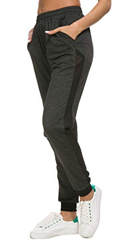 Artfish Women Relaxed Fit Tappered Leg Joggers Mesh Patchwork Sweatpants(Black,3XL)