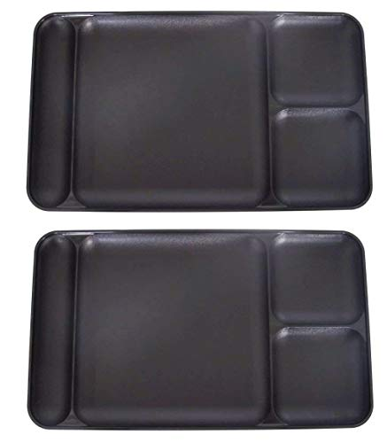 Tupperware Divided Dining TV Trays Picnic Kids Lunch Plates Set of 2 Black (Tupperware Kids Trays)