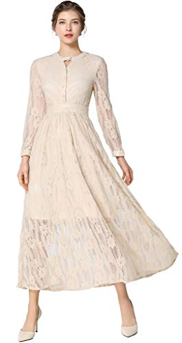 Ababalaya Women's Elegant Keyhole Long Sleeve Floral Lace Empire Maxi Runway Evening Dress,3892Beige,Tag M = US Size 2 ()