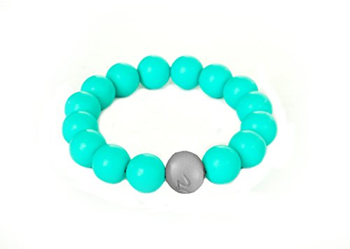 Itzy Ritzy Teething Happens Silicone Jewelry Baby Teething Bracelet Bead, Turquoise