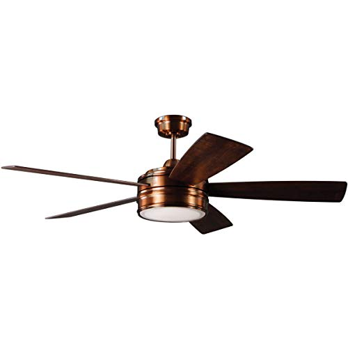 (Indoor Ceiling Fans 1 Light Fixtures with Brushed Copper Finish Plywood Silicon Steel Material Disc 15