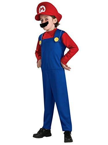 Child Boy Girl Halloween Fun Super Mario Bros Costume Fantasia Cosplay