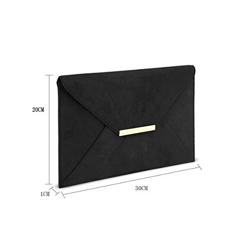 Anna-Smith-Women-Envelope-Clutch-with-Chain-Strap-Magnet-Hook-Ladies-Faux-Suede-Purse-with-Pocket
