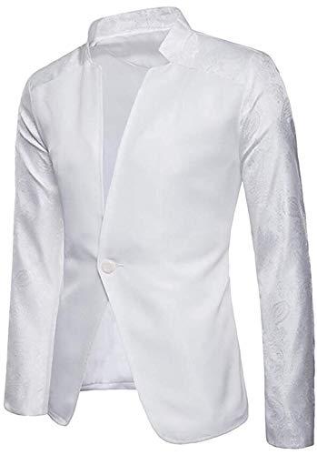 Men's Regular Fit One Button Solid Casual Mandarin Collar Blazer Jacket Coat,Small,White