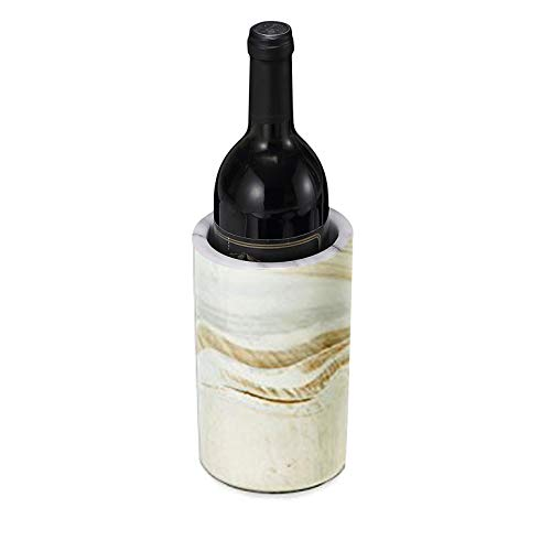 "Porcelain Wine Bottle Chiller - Decorative Marble Wine Cooler Caddy And Champagne Bucket - 8"" Tall Dessert Brown Decorative Marble"