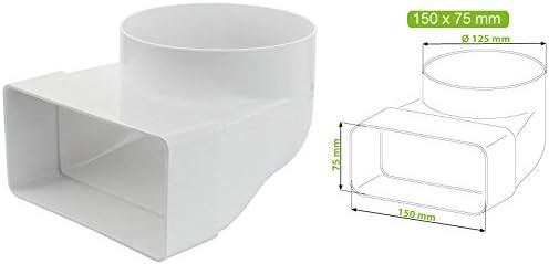 /Ø 100 mm Kanal Rohrverbinder Kanalverbinder /Übergangsst/ück L/üftungskanal Verbindungsst/ück Abluft Zuluft Rundrohr Flachkanal Umlenkst/ück rund-eckig 110 x 55 mm