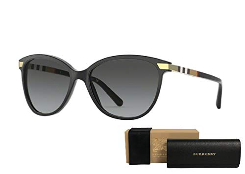 Burberry BE4216 3001T3 57M Black/Polarized Grey Gradient Cat Eye Sunglasses For Women+FREE Complimentary Eyewear Care Kit (Burberry Key Case)