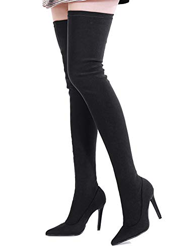 Peatutoori Women Over The Knee Boots Poninted Toe Thigh High Bootie Stretch Socks Boots for Ladies Heeled Black ()
