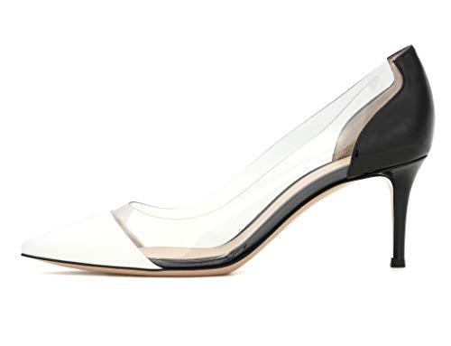 Mid Rutsch Hochzeit Whiteblack EDEFS Kitten Schuhe Party Damenschuhe Heels Pumps Heel Transparent zwXZBXYSq