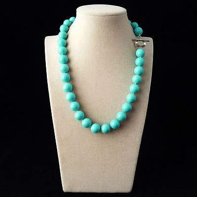 FidgetKute Genuine 12mm South Sea Shell Pearl Necklace Fashion Jewelry AAA Blue Turquoise