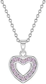 925 Sterling Silver Precious Girl's Cubic Zirconia Open Heart Pendant Neck