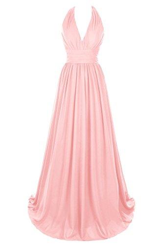 Dresstore Women's V Neck Chiffon Bridesmaid Dress Backless Evening Formal Gowns Pink US 4