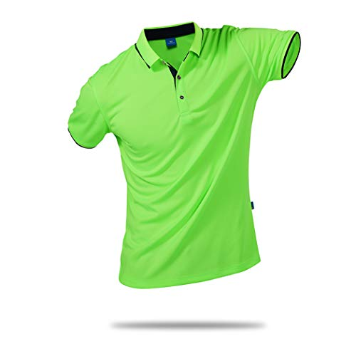 (SanVera17 Unisex Casual Classic Solid Color Polo Shirts Short Sleeve Quick-Dry T-Shirt Green US XL)