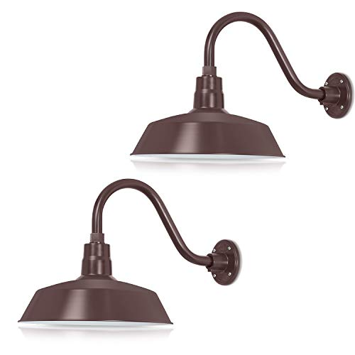 14in. Architectural Bronze Outdoor Gooseneck Barn Light Fixture With 14.5 in. Long Extension Arm - Wall Sconce Farmhouse, Antique Style - UL Listed - 9W 900lm A19 LED Bulb (5000K Cool White) - 2-Pack