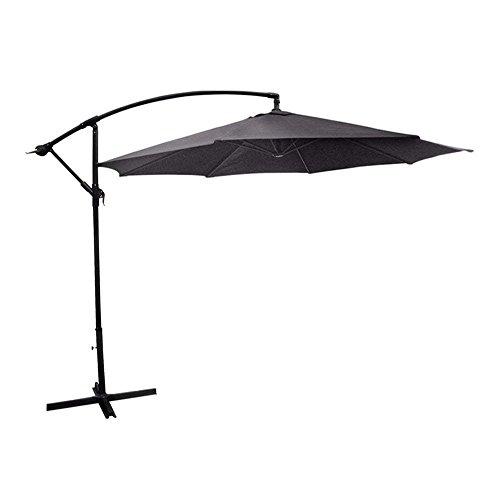 Black COSTWAY 2.7M Outdoor Parasol Sun Shade Cantilever Banana Hanging Umbrella Patio Garden