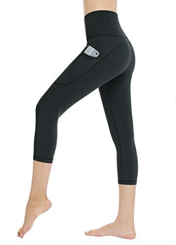 Dragon Fit High Waist Yoga Leggings with 3 Pockets,Tummy Control Workout Running 4 Way Stretch Yoga Pants (Medium, Capri29-Charcoal Gray)