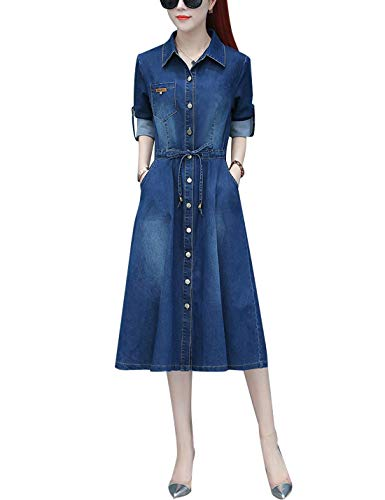 Omoone Women's Long Sleeve High Waist Belted Washed Denim Chambray Dress Jacket (Blue Style 01, M)