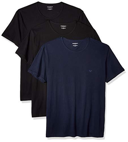 Emporio Armani Men's Cotton Crew Neck T-Shirt, 3-Pack, Navy Black, ()