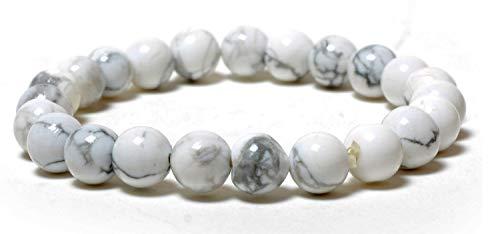 (Miran Agate Exports Natural Howlite Gemstone Stretch 8mm Round Beads Bracelet-Genuine Howlite-White Stone Bracelet-Men White Bracelet-Howlite Beaded Bracelet-Natural Stone Bracelet-Natural Howlite)