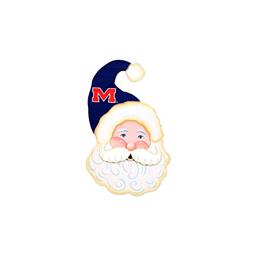The Round Top Collection Gameday Santa Face Wood - University of Mississippi-Ole Miss - Metal and Wood