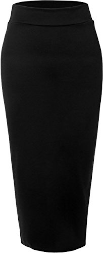 Ababalaya Women's Muslim Elastic Waist Ankle Length Pencil Bodycon Thicken Knited -