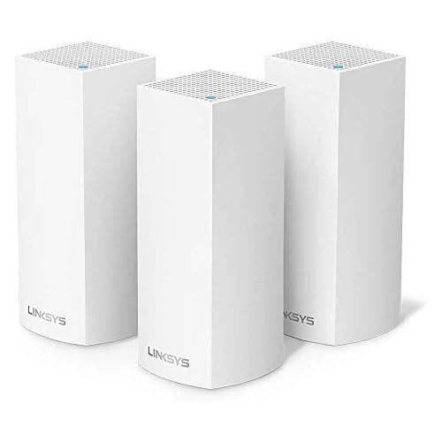 chollos oferta descuentos barato Linksys WHW0303 Velop sistema de mesh Wi Fi tribanda para toda la casa router extensor WiFi AC2200 525 m de cobertura controles parentales 3 nodos Blanco