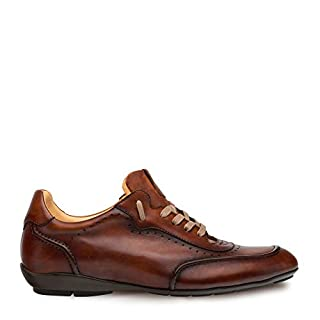 Mezlan Tivoli Mens Fashion Sneaker - Burnished Uppers with Contoured Leather Sole - Made of Spanish Calfskin - Handcrafted in Spain - Medium Width (9, Cognac)