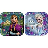 """Disneys Frozen Party 7""""x7"""" Square Cake/Dessert Plates, Pack of 8, Assorted"""