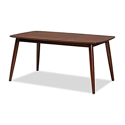 Baxton Studio Dining Tables, One Size, Walnut - Mid-century dining table Seats up to six (6) Constructed from solid rubber wood - kitchen-dining-room-furniture, kitchen-dining-room, kitchen-dining-room-tables - 31v8t9DsiSL. SS400  -