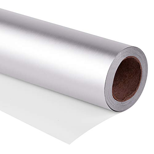 RUSPEPA Gift Wrapping Paper Roll - 81.5 Sq Ft Matte Silver for Wedding,Birthday, Shower, Congrats, and Holiday Gifts-30Inch X 32.8Feet