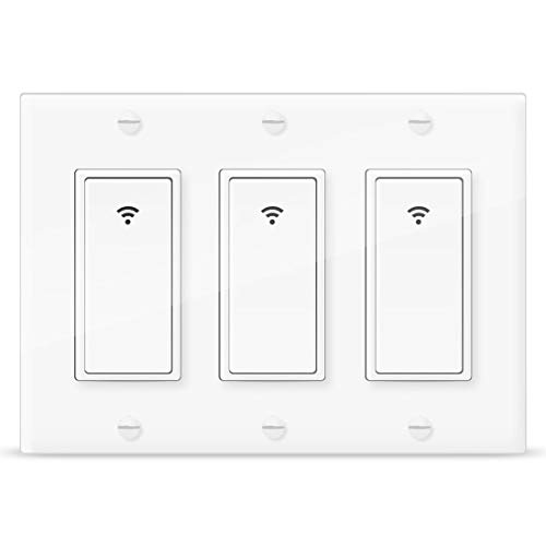 Smart Light Switch,Vaticas 100-240V Smart WIFI Light Switch,Compatible with Alexa,Google Home and IFTTT, With Remote Control and Timer,No Hub required Applicable to Family and Office(3 Gang - 3 Light Gang