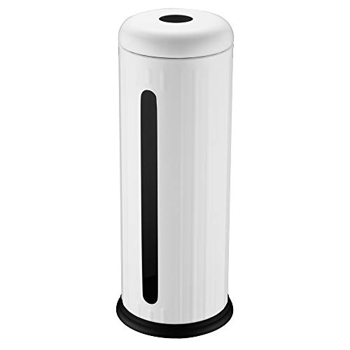 DOWRY Toilet Paper Canister with Lid Free Standing, Creamy White, 1 Pack. by DOWRY