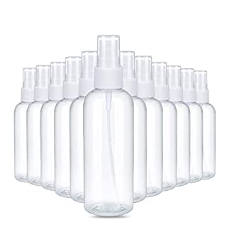 Spray Bottles, 3.4oz Clear Empty Fine Mist Plastic Mini Travel Bottle Set, Small Refillable Liquid Containers for Cleaning Products, Misting Plants and Industrial Use(12 Packs)