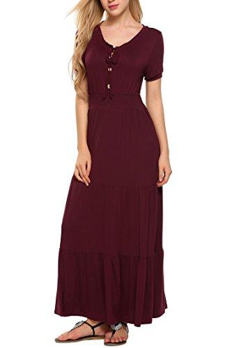 ELESOL Womens Gypsy Tiered Smock Waist Long Maxi Boho Hippie Peasant Dress,Wine Red,M